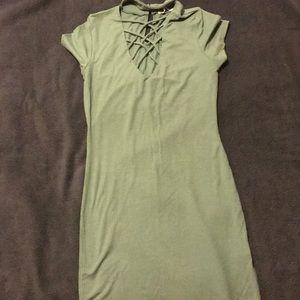 Mid length olive green dress